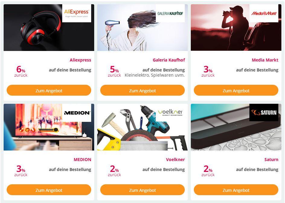 Auswahl von Partnershops im Technik-Special